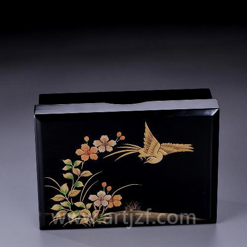 B310009 大漆时绘飞鸟果盒