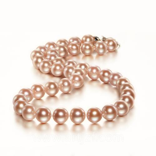 B210046 粉紫珍珠项链